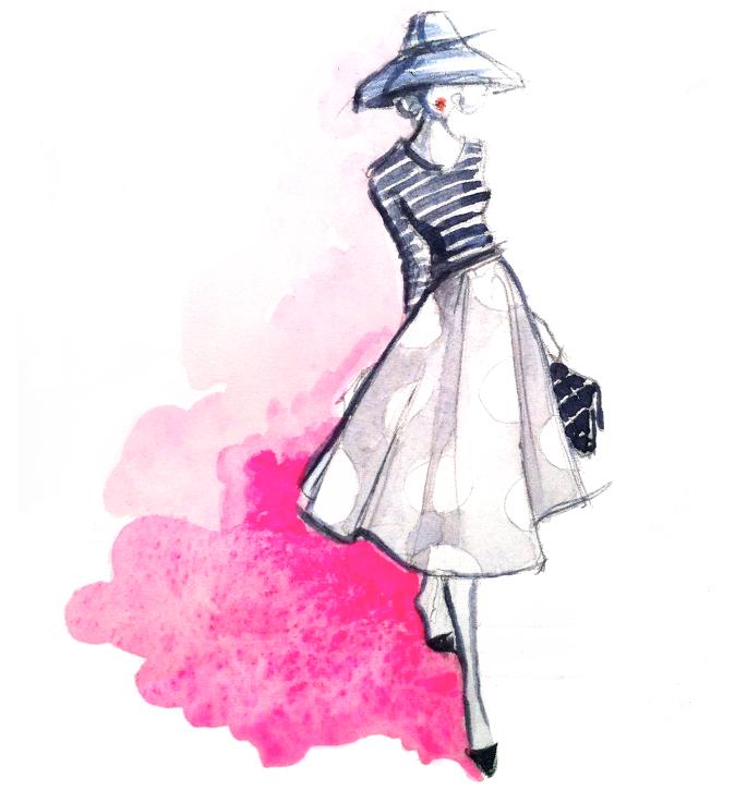 طراحی لباس در کنار تصویرسازی مد برای یک مدل نشسته!